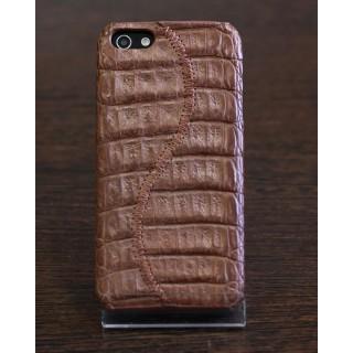 Чехол из натуральной кожи крокодила на iPhone 5/5s (коричневый прошитый), , 3200,00 р., Чехол из натуральной кожи крокодила на iPhone 5/5s (коричневый п, , Чехлы для iPhone 5/5s