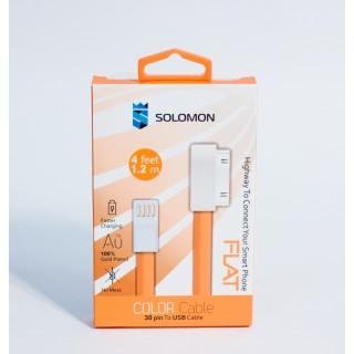 Кабель для iPhone 4 Solomon (оранжевый, 1.2m)
