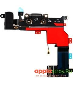 Шлейф системного разъема+микрофон для iPhone 5s (черный)